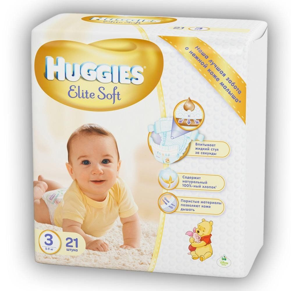 Подгузники Huggies Elite Soft 3 Small 21 шт (5029053545271) - Kidr