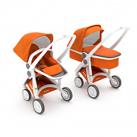 Коляска 2в1 GreenTom™ Upp Carrycot+Reversible ABCD White\Orange [GTU-ABCD-WOR] - купить на kidr.com.ua (сеть детских магазинов Kid's Republic™)