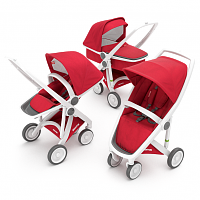 Коляска 3в1 GreenTom™ Upp Carrycot+Reversible+Classic ABCDF White\Red [GTU-ABCDF-WR] - купить на kidr.com.ua (сеть детских магазинов Kid's Republic™)